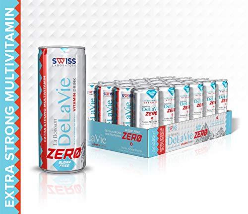 Multivitamin Hochdosiert Vegan Getränk – DeLaVie ZERO Drink - mit Fruchtsäften aromatisiert & Kräuterauszüge & Vitamin Complex - Gesundheitsgetränk – Zuckerfrei – / Laktose Gluten GMO - Frei /