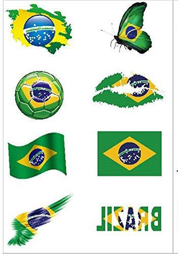 Hemore Fußball Tattoos [8 Stück] 2018 WM Fußball Fans Brasilien Fahnen Tattoo
