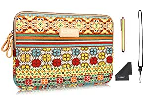 LISEN Bohemian Style Canvas 14 Inch Fabric Laptop / Notebook Computer / MacBook / MacBook Pro / MacBook Air Sleeve Case Bag Cover + Neck Strap Lanyard +Stylus Pen + Cleaning Cloth