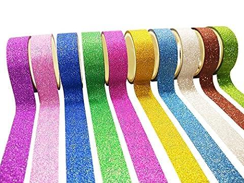 Misscrafts Glitter Washi Tape 3m 10 Rolls Sparkle Decorative Masking Wrapping Christmas Gifts Art Craft