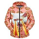 Xmiral Kapuzenpullover Outwear Herren Farbig Drucken Reißverschluss Tasche Sweatshirts mit Kapuze Slim Fit Sportbekleidung Outdoor Fitness Training Hooded Pullover(b Orange,XL)