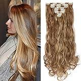 TESS Clip in Extensions wie Echthaar Haarteile günstig Haarverlängerung 8 Tressen 18 Clips Ombre Haarteil Gewellt 24'(60cm)-140g Hellbraun/Honigbraun