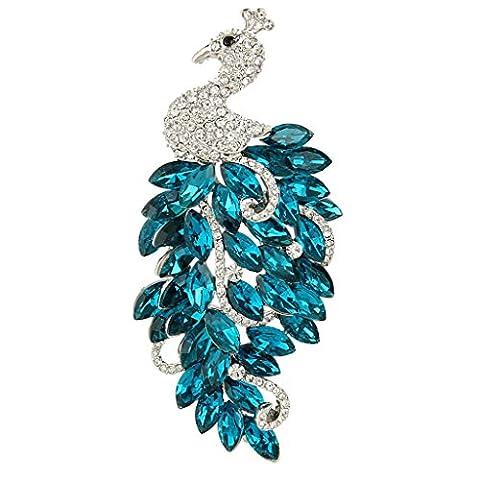 EVER FAITH® Austrian Crystal Noble Peacock Blue Feather Silver-Tone Brooch N05368-3
