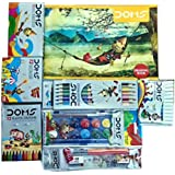 Doms Drawing Book, Doms 12 Shade Water Colour Cakes, Bicolour Pencils, Oil Pastels, Extra Long Wax Crayons,Glitters, Pencil Kit