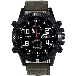 Men's Wrist Watch - PINBO Men's Large dial canvas Watch Band movement quartz Wrist Watch Green Bnad+Black Dial