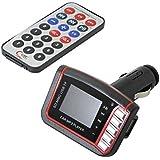 QUMOX Lecteur MP3, Transmetteur FM, USB TF Micro SD, Transmetteur sans fil Télécommande, Adaptateur audio musical Chargeur voiture Rouge / Noir