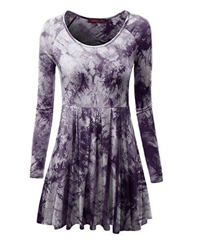 Minetom Damen Frühling Herbst Stilvoll Langarm Krawatte Dye Minikleid Sexy Große Größen Plissee Kleider Rundhals Partykleid Violett DE 34 (Doppel-plissee Hose)