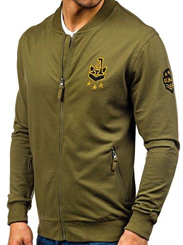 BOLF - Felpa - Pullover - Manica lunga �?Maglione - Collo alto - Classic - Motivo - 1A1 Verde