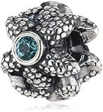 Pandora Damen-Charm 925 Sterling Silber Seestern synthetischer türkiser Spinell 791163SST