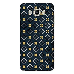 CrazyInk Premium 3D Back Cover for Samsung J7 2016 - Dark Flower & Square Pattern