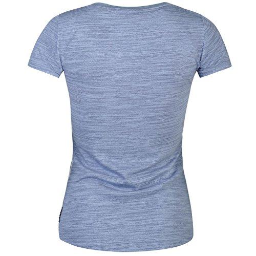 Lee Cooper Femme Texture T-Shirt Tee Haut Decontracte Col Rond Manches Courtes Fonce Bleu