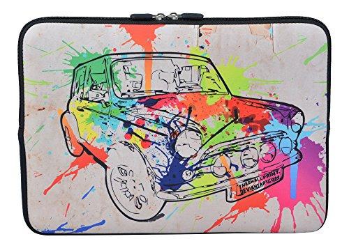 MySleeveDesign Laptoptasche Notebooktasche Sleeve für 10,2 Zoll / 11,6-12,1 Zoll / 13,3 Zoll / 14 Zoll / 15,6 Zoll / 17,3 Zoll - Neopren Schutzhülle mit VERSCH. Designs - Colored Car [17]