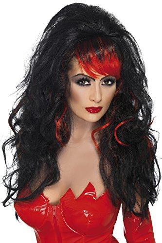 Vampire Perücken, schwarz rot Verführerische Damenperücke für Damen (Kostüme Schwarze Rote Perücke Und)
