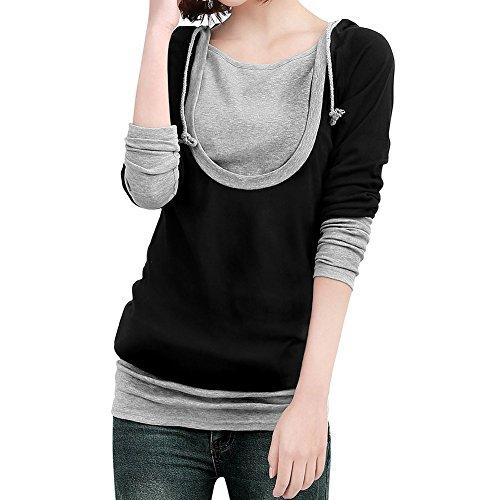 Smile YKK Femme Automne Couleur Contraste Pull à Manche Longue Capuche Slim T-Shirt Noir