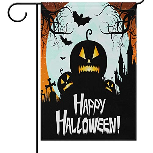 beautiful& Happy Halloween Pumpkin Garden Flag House Banner, Bat Moon Tree Small Mini Decorative Double Sided Welcome Yard Flags for Holiday Wedding Party Home Outdoor Outside Decor 12.5x18 inches (Happy Tree Friends-halloween-party)
