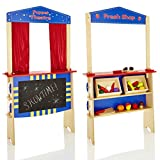 KiddyPlay 2 in 1 Wooden Puppet Theatre & Market Stall