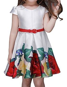Vestidos De Fiesta Para Niña Cap Sleeves Flor Impresión Princesa Vestidos Con Cinturón - Flor - 110CM-120CM