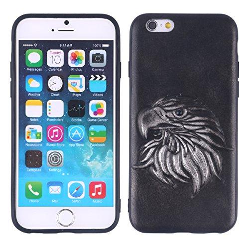 UKCOCO Edle Vintage-Stil Telefon Fall für iPhone 6S mit 3D geschnitzten Adler Muster PU-Leder bequemen Griff Shockproof Anti-Scratch-Handy-Cover Case (Silber) (Hand Geschnitzt Adler)