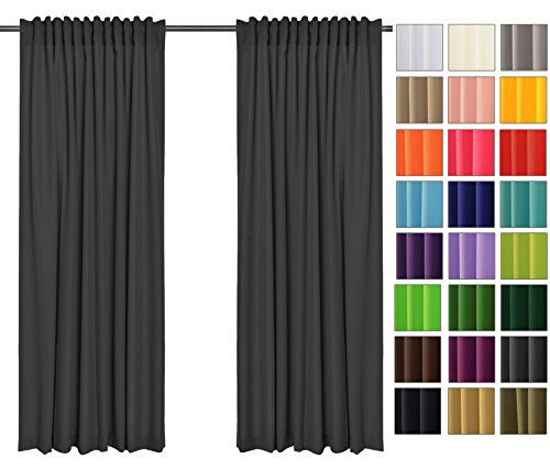 Rollmayer - tendine parasole e frangivista, 2 pezzi, con nastro a tunnel, coprenti, per camera da letto, cameretta dei bambini, soggiorno, 40 colori !, tessuto, dunkel grafit 61, 135x175 cm (bxh)
