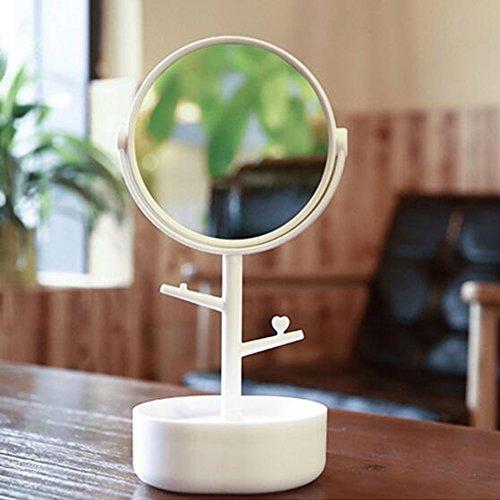 Brisk- 3X Schmuckkästchen Tischspiegel Doppelseitiger Spiegel Schönheitsspiegel ( Farbe : Weiß )