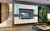 Wohnwand FUTURE 24 Moderne Wohnwand, Exklusive Mediamöbel, TV-Schrank, Neue Garnitur, Große Farbauswahl (RGB LED-Beleuchtung Verfügbar) (LED 16-farbig mit Fernbedienung, Weiß Hochglanz)