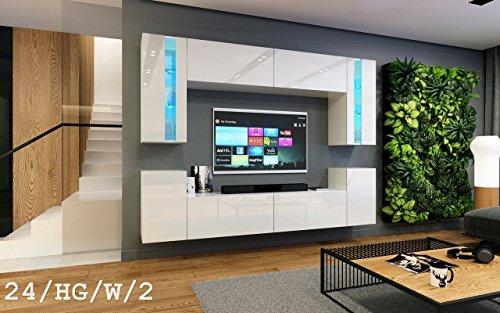 exklusive wohnwaende HomeDirectLTD Wohnwand Future 24 Moderne Wohnwand, Exklusive Mediamöbel, TV-Schrank, Neue Garnitur, Große Farbauswahl (RGB LED-Beleuchtung Verfügbar) (LED 16-Farbig mit Fernbedienung, Weiß Hochglanz)