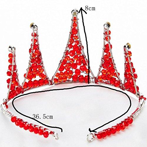 Braut Kopfschmuck Red Pearl Diamond Princess Crown Hochzeit Haarschmuck