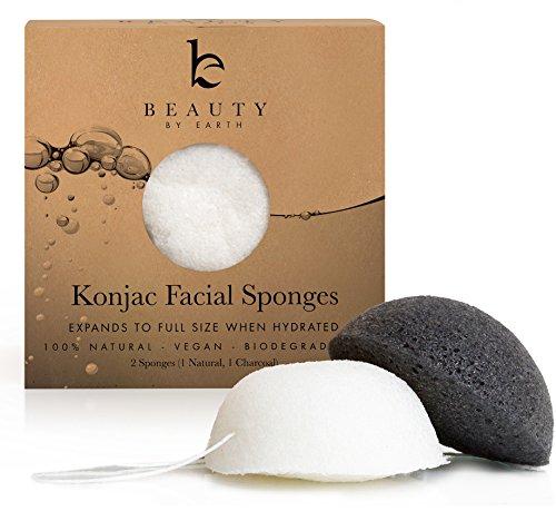 Esponja Konjac Facial (blanca y negra) — 100% Natural y orgánica — Con carbón natural de bambú para una limpieza profunda de la piel grasa, con tendencia a padecer acné o piel sensible