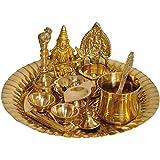 Exotic India Saraswati ji Puja Thali with Lakshmi Ji Diya - Brass