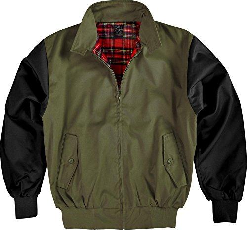 GearUp Original Harrington Jacke English Style in 12 Verschiedenen Designs wählbar Farbe Oliv/Schwarz Größe XXL