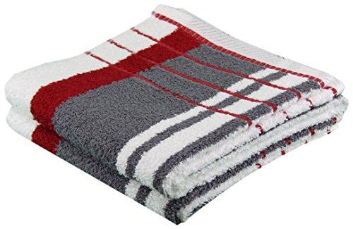 Gözze Handtuch 2er-Set, 100% Baumwolle, 50 x 100 cm, Berlin, Streifen, Bordeaux/Anthrazit, 102-1113-A4