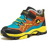 Niños Suave De Piel Sintética Forro Senderismo Acampar Entrenadores Escuela Velcro Zapatos De Nieve para Caminatas Transpirables De Invierno Tobillos Zapatos