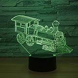 ZNND Carga USB 7 Color Change Creativity 3D Locomotora abstracta Luz de noche, Cumpleaños / Regalos de vacaciones para niños