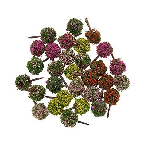 YNuth 30x Modellbäume Blumen Landschaftbau Modellbau Mehrfarbig Dekor Höhe 2.5cm (Architektur Blumen)