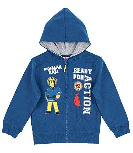 Feuerwehrmann Sam Jungen Sweatjacke mit Kapuze - blau - 104 (Feuerwehrmann Kinder-sweatshirt)