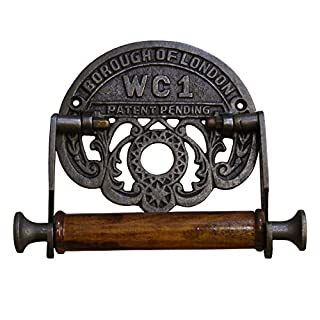 Vintage Toilet Roll Holder Borough of London WC1 Antique Iron and Wood 6