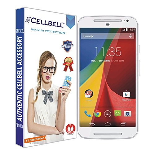 Cellbell Premium Tempered Glass Screen Protector for Motorola Moto G2 2nd Generation XT1068 (2.5D Curved Edges)(Clear)(Comes with Warranty)Complimentary Prep cloth