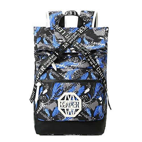 Ohmais Rücksack Rucksäcke Rucksack Backpack Daypack Schulranzen Schulrucksack Wanderrucksack Schultasche Rucksack für Schülerin blau Plumes