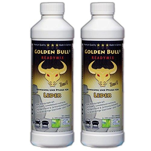 GOLDEN BULL® READYMIX FÜR LEDER Doppelpack, Lederreiniger, Lederpflege Leder Pflege Ökologisch Bio Auto (2-in-1) 2 x 500ml (1L), öko-zertifiziert -