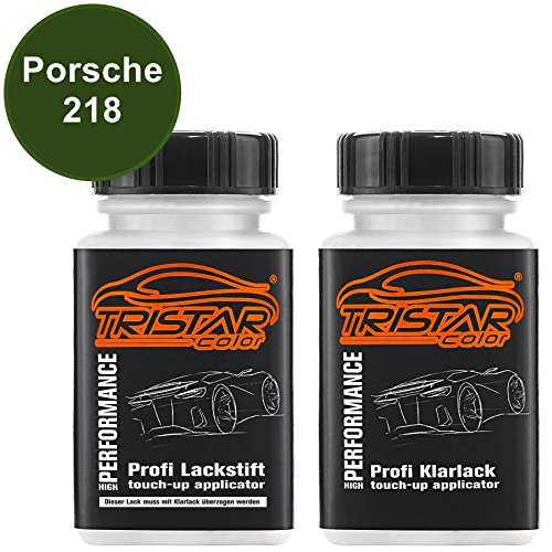 Preisvergleich Produktbild TristarColor Autolack Lackstift Set Porsche 218 Buschgruen/Leaf Green Basislack Klarlack je 50ml