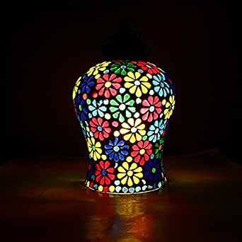 Vintage Turkish Handcrafted Multicolored Flower Decorative Mosaic Glass Hanging Lamps/Light with metal fitting by For Gift & Home Décor | decorative gift items | diwali lights for decoration of home | diwali gifts items | corporate gifts for office Gifts & Décor