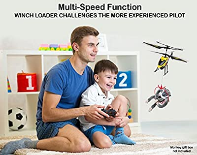 PTL Remote Control Helicopters Gifts for Teenagers | Pro 3CH Channel Gyro RC Helicopter with Winch & Carry Basket, LED Mini Indoor Outdoor Radio Controlled Heli Teenage Boys Girls Adults Flying Toys RTF