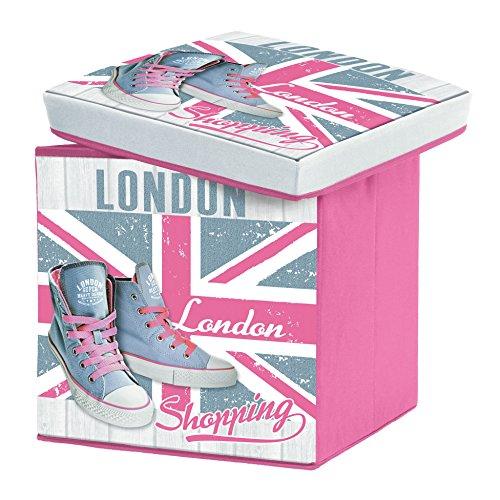 Sitzsack Faltbare Aufbewahrungsbox Girly London Rosa