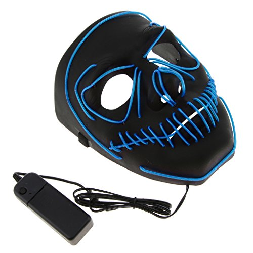D DOLITY LED Leuchtende Schädel Maske Skelett Maske Halloween Kostüm Maske mit Batterie Energie Erhalten - Blau