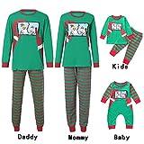 Riou Weihnachten Set Baby Kleidung Pullover Pyjama Outfits Set Familie Infant Baby Jungen Mädchen Santa gestreiften Strampler Familie Pyjamas Weihnachten Nachtwäsche (80, Baby B)