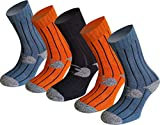 NORDSOKK Pack 5 Pares Calcetines termicos Media caña, Modelo NORDROCK. Calcetines para Senderismo y montaña. (S/M(36-40))