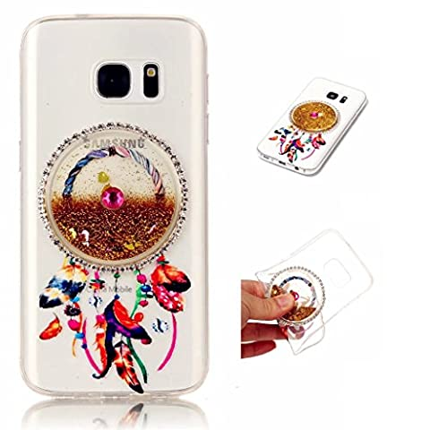 Samsung Galaxy S7 Case Cover MUTOUREN TPU Silicone Anti-scratch Rear Case Mobile phone protective cover Liquid Cover Stylish 3D Creative Red Dreamcatcher Design Quicksand Glitter Clear Crystal Gel Rubber Bumper Protective shockproof non-slip shell-quicksand dreamcatcher