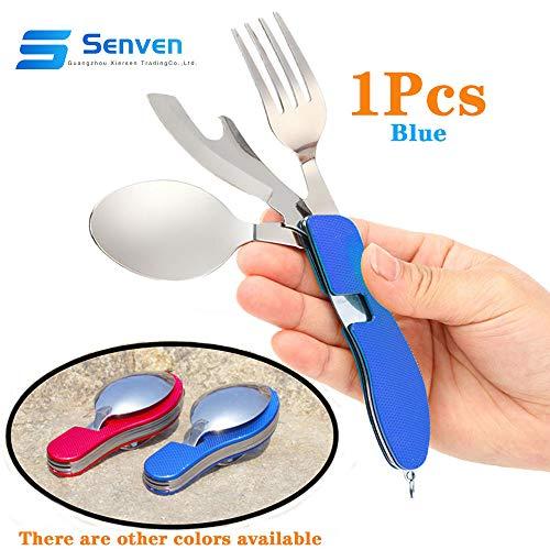 Senven® 4-en-1 Cubiertos Plegables, Vajilla Portátil de Acero Inoxidable para Camping, Vajilla Plegable Desmontable, Incluye Cuchillo, Tenedor, Cuchara y Abridor -- Azul
