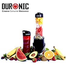 Duronic (Certified Refurbished) BL3 /SS V1 Stainless Steel Blend & Go Personal Sports Smoothie Protein Shake 300W Blender with 2 X BPA Free 600ml Bottle