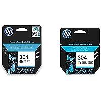 HP 304 Multipack Original cartouches d'imprimante, Noir/Trois Couleurs, pack de 2 + 2620/2630/3720/3730 (N9K06AE…